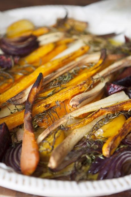 Ugnsbakade grönsaker passar bra till färsmat.