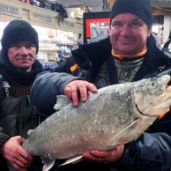Gunars Jankovskis, till vänster, från Lettland, fångade rödingen på 9,23 kilo i Malgomaj. Här visas fångsten upp på Grönlunds Jakt & Fiske i Vilhelmina.